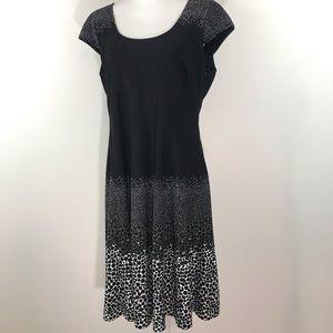 Anne Klein Cap Sleeve Black & White Dress - 12